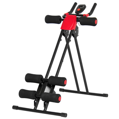 Best Choice Products Adjustable Abdominal Trainer Core Ab Cruncher W/ LCD Display- Red/Black