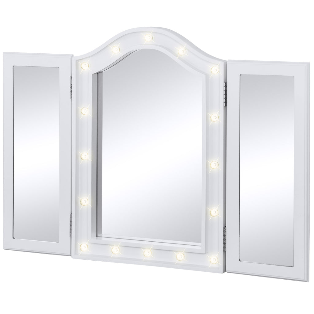 tri fold tabletop vanity mirror w led lights white best choice products. Black Bedroom Furniture Sets. Home Design Ideas