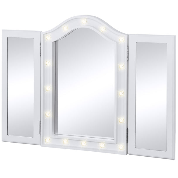 Superb Tri Fold Tabletop Vanity Mirror W/ LED Lights   White ...
