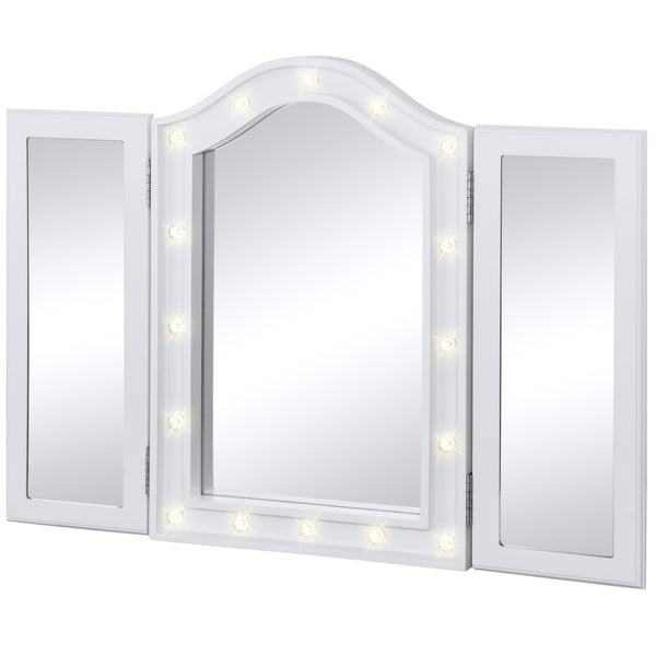 Lit Tabletop Tri-Fold Vanity Mirror w/ LED Lights - White