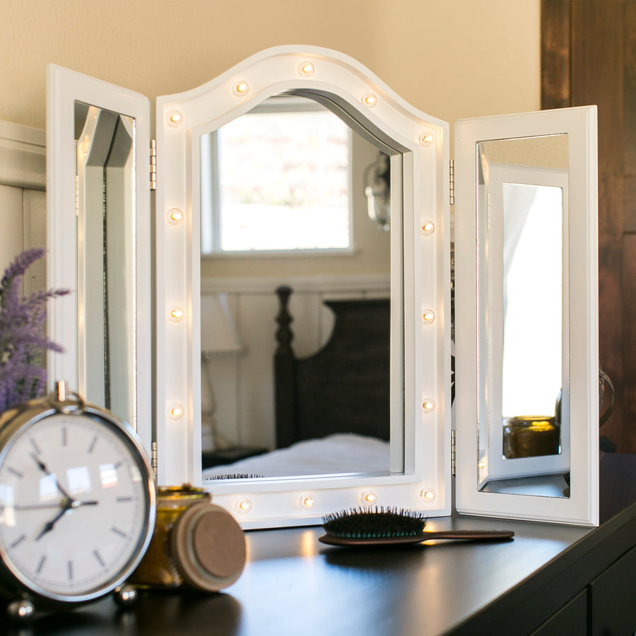 Lit Tabletop Tri-Fold Vanity Mirror w/ LED Lights - White – Best ...