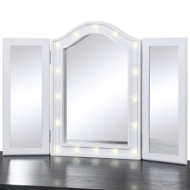 ... Tri-Fold Tabletop Vanity Mirror w/ LED Lights - White ... - Tri-Fold Tabletop Vanity Mirror W/ LED Lights - White – Best