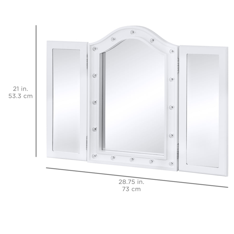 Lighted Tabletop Tri Fold Vanity Mirror W Led Lights Best Choice
