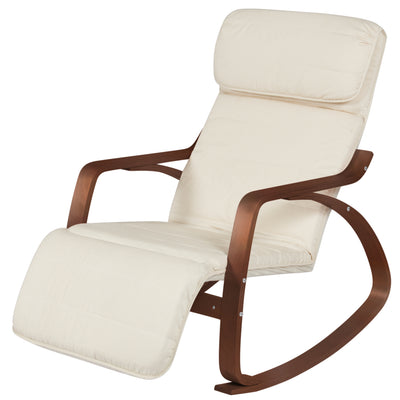 Best Choice Products Wood Recliner Rocking Chair W/ Adjustable Foot Rest- White/Espresso