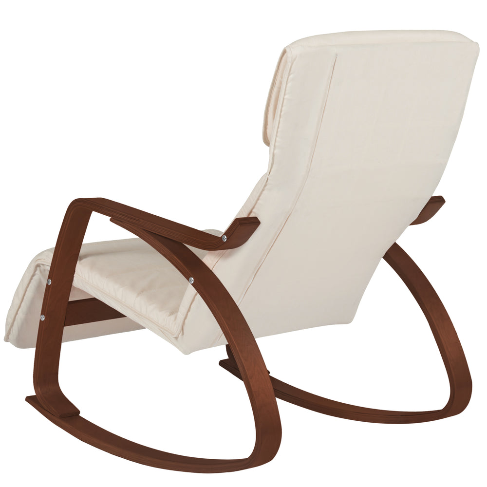 Birch Bentwood Rocking Chair W/ Adjustable Leg Rest   White/Espresso