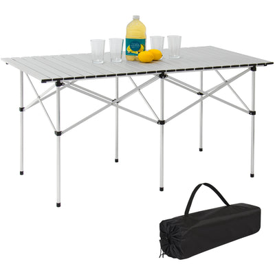 "Best Choice Products Camping Portable Aluminum 55"" Roll-Up Picnic Table W/ Carrying Bag"
