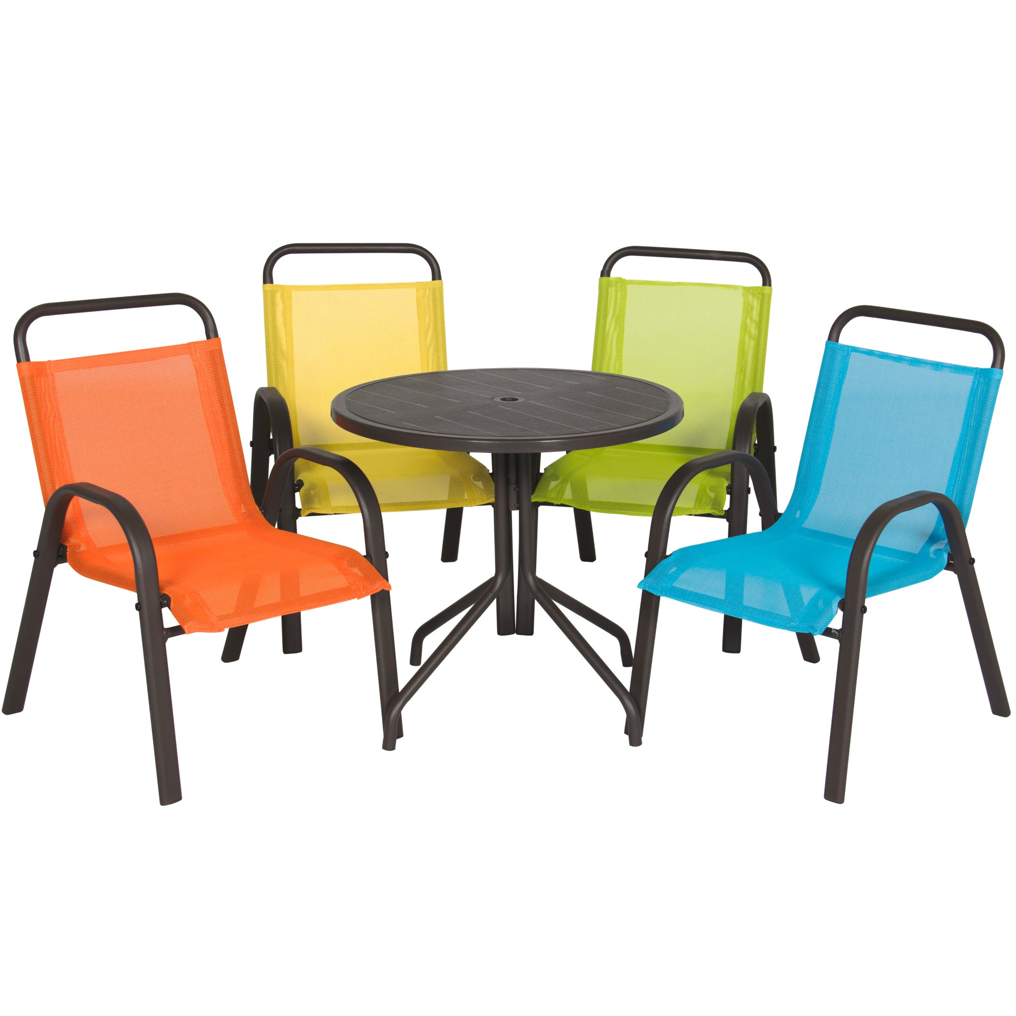 Set Of 5 Kids Dining Chairs W/ Table   Multicolor