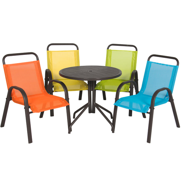 Best Choice Products Outdoor/Indoor 5 Piece Junior Kids Furniture Table And Chair Set For Dining, Playing, Learning