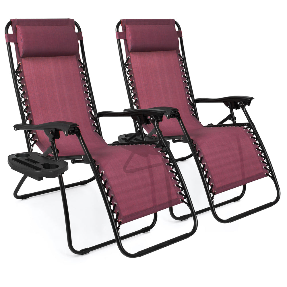 Set of 2 Adjustable Zero Gravity Patio Chair Recliners w/ Cup Holders