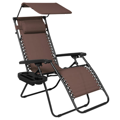 Best Choice Products Folding Zero Gravity Recliner Lounge Chair W/ Canopy Shade & Magazine Cup Holder-Brown
