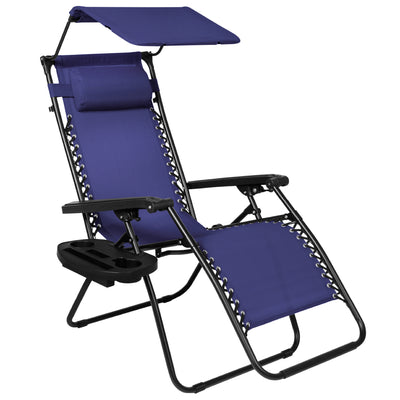 Best Choice Products Folding Zero Gravity Recliner Lounge Chair W/ Canopy Shade & Magazine Cup Holder-Navy Blue