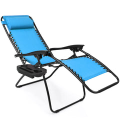 Best Choice Products Zero Gravity Chairs Case Of (2) Lounge Patio Chairs Outdoor Yard Beach- Light Blue