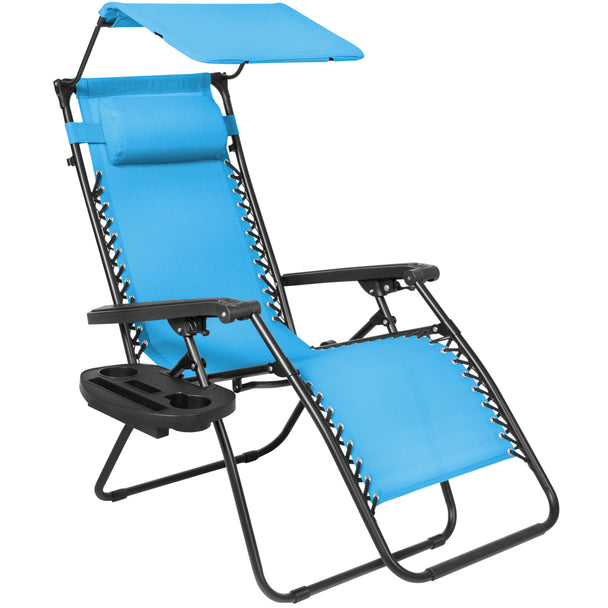 Best Choice Products Folding Zero Gravity Recliner Lounge Chair W/ Canopy Shade & Magazine Cup Holder-Light Blue