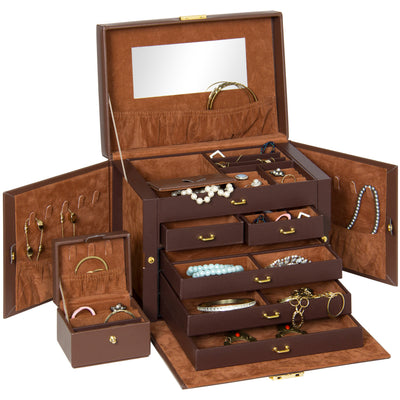 Best Choice Products Leather Jewelry Box Organizer Storage With Mini Travel Case- Brown