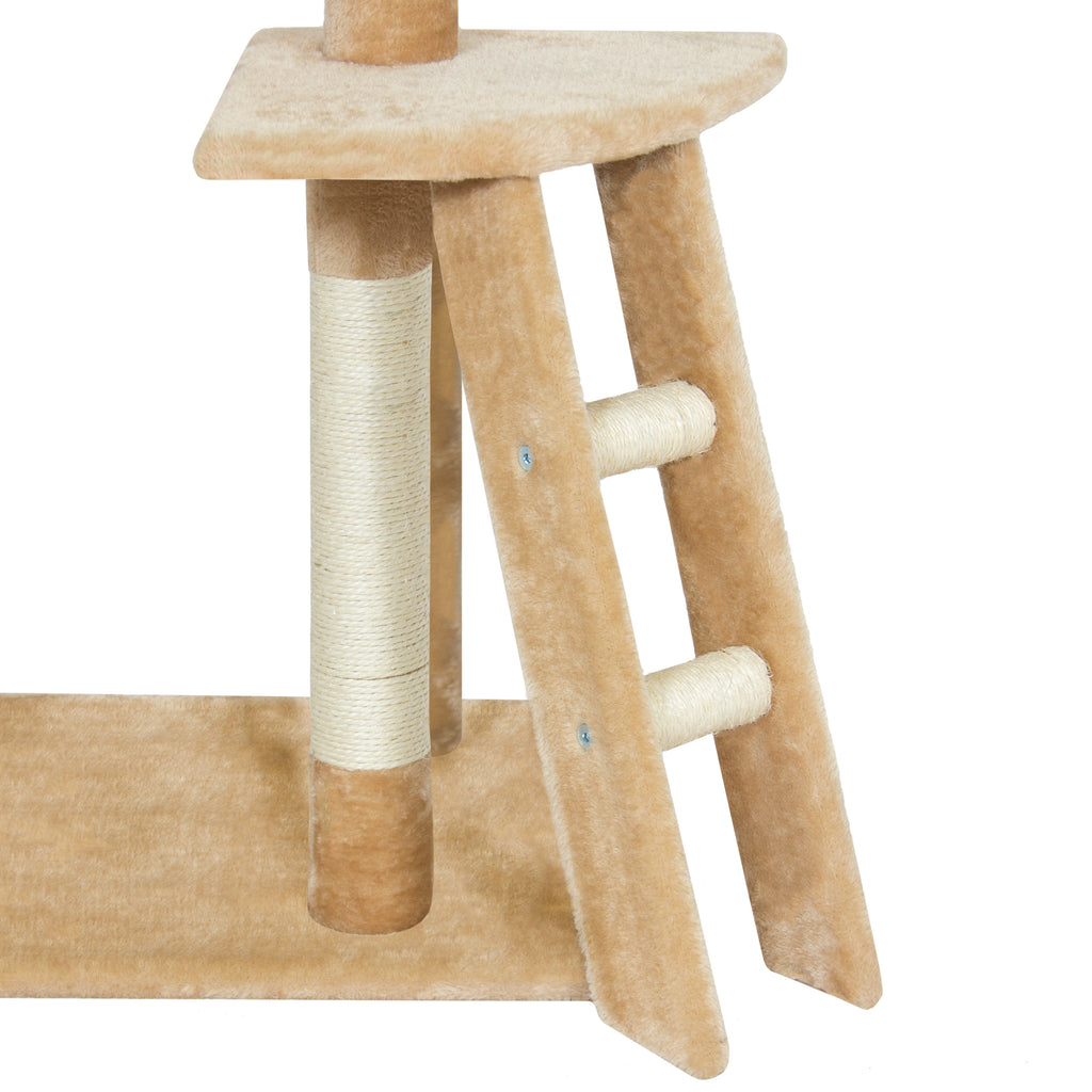 "Best Choice Products Pet Play House 59"" Cat Tree Scratcher Condo Furniture - Beige"