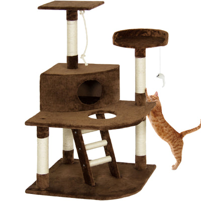 "Best Choice Products Pet Play House 47"" Cat Tree Scratcher Condo Furniture, Brown"