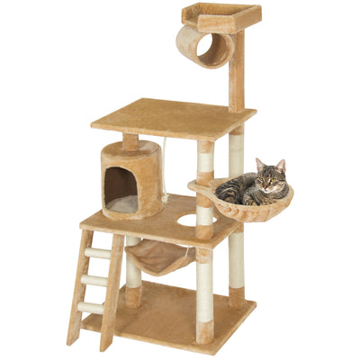 "Best Choice Products Pet Play House 60"" Cat Tree Scratcher Condo Furniture, Beige"