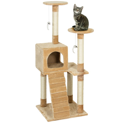 "Best Choice Products Pet Play House 52"" Cat Tree Scratcher Condo Furniture, Beige"