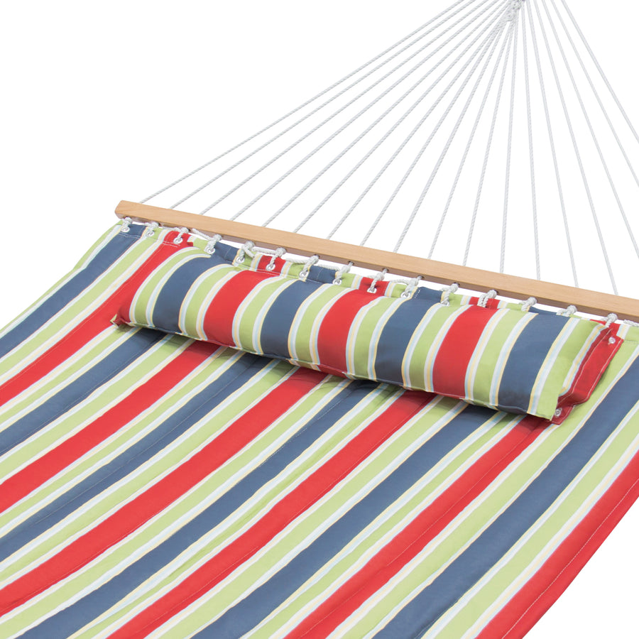 Quilted Double Hammock w/ Detachable Pillow - Red, Blue, and Green Stripes