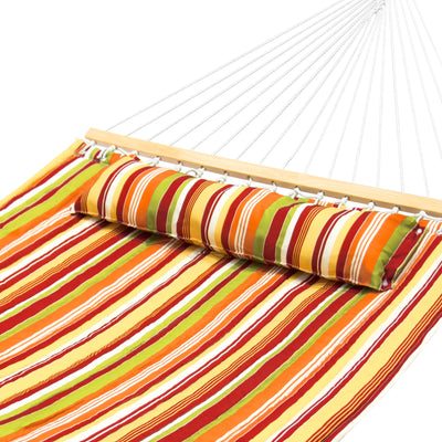 Best Choice Products Quilted Double Hammock With Pillow, Spreader Bar- Orange/Green Stripes
