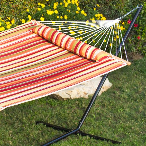 Quilted Double Hammock w/ Detachable Pillow - Orange and Green Stripes