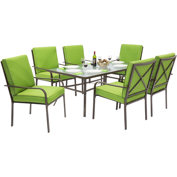 Best Choice Products Outdoor Patio Furniture 7-Piece Steel Dining Table Set And 6 Chairs Set W/ Removable Cushions Green