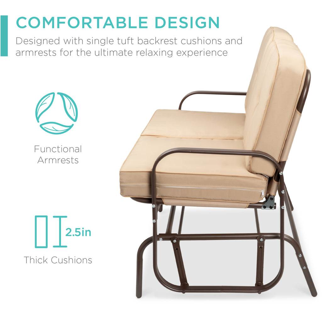 2-Person Patio Glider Loveseat Rocking Chair Bench