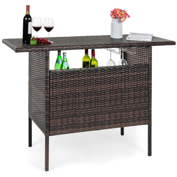 Best Choice Products Outdoor Patio Wicker Bar Counter Table- Brown