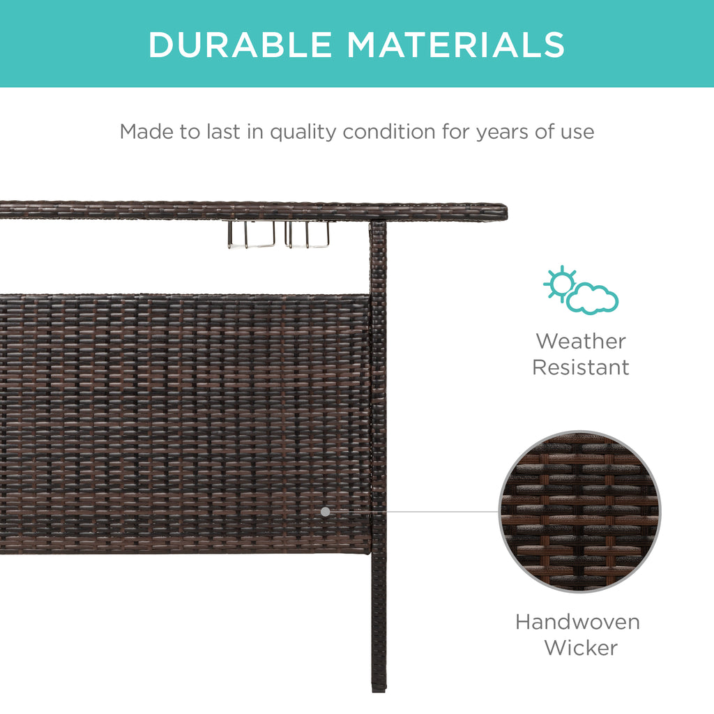 Outdoor Wicker Bar Counter Table w/ 2 Steel Shelves, 2 Rails