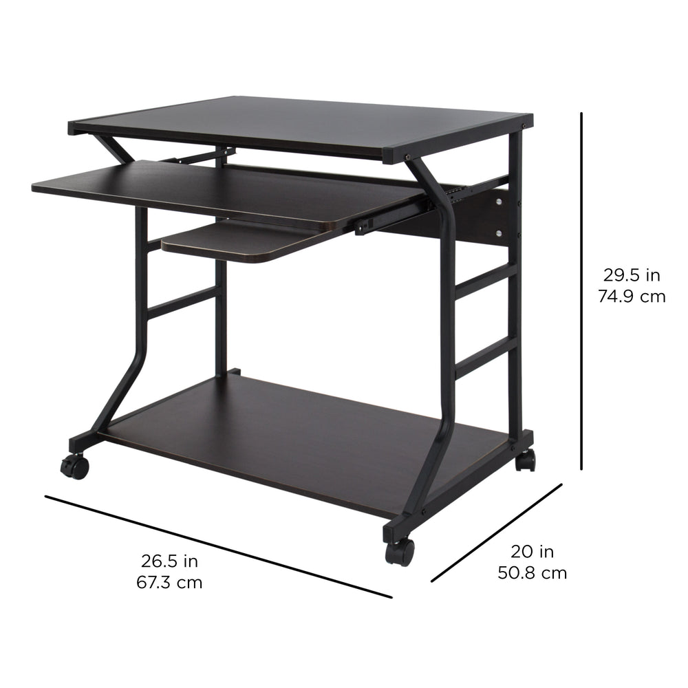 Best Choice Products Home Office 2 Tier Computer Desk Workstation W/  Locking Wheels