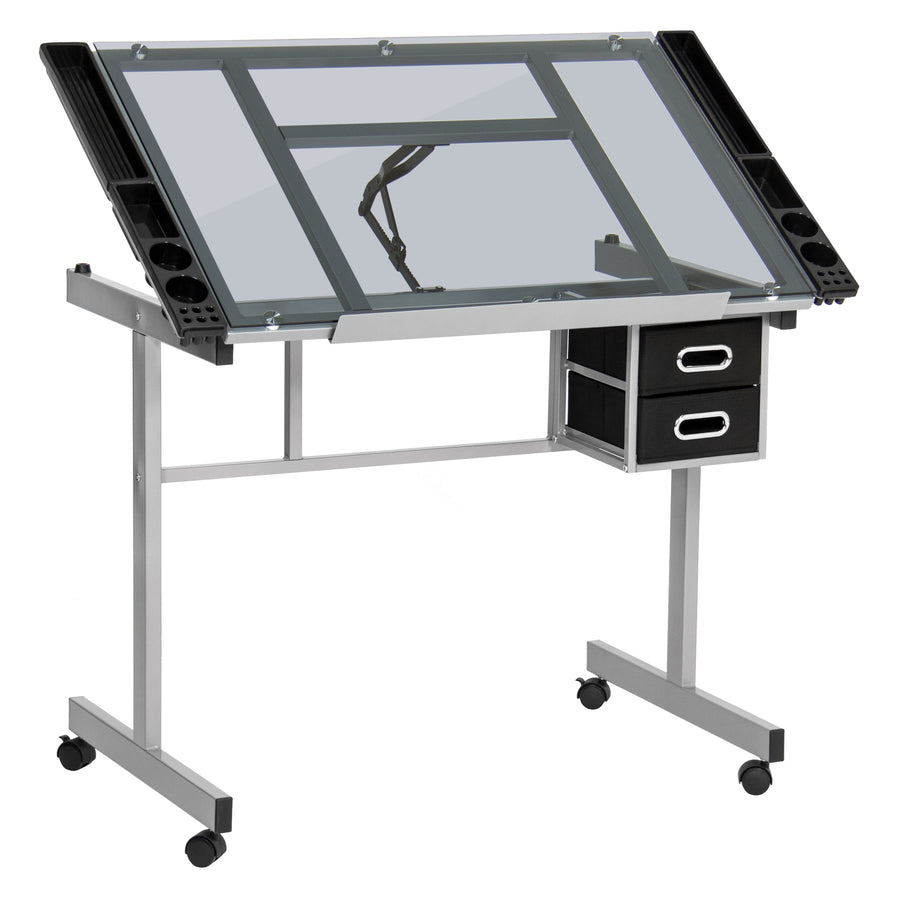 Best Choice Products Office Drawing Desk Station Tempered Glass Adjustable Drafting  Table W/ Wheels
