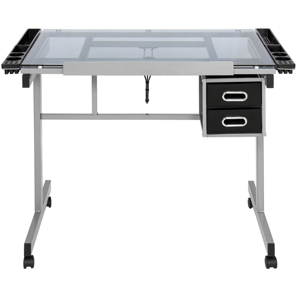 Best Choice Products Office Drawing Desk Station Tempered