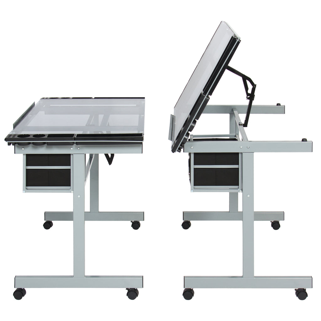 Adjustable Tempered Glass Drafting Table Drawing Desk W
