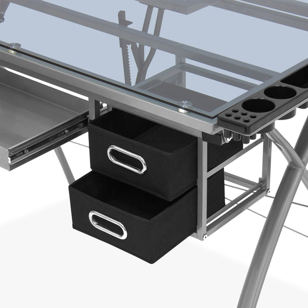 Adjustable Drafting Table w/ Glass Top and Drawers - Silver/Black