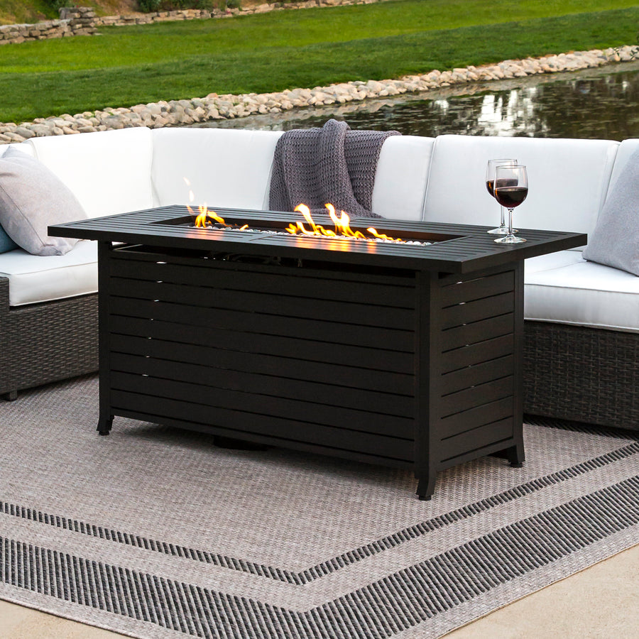 57in Rectangular Gas Fire Pit Table W/ Cover   Black