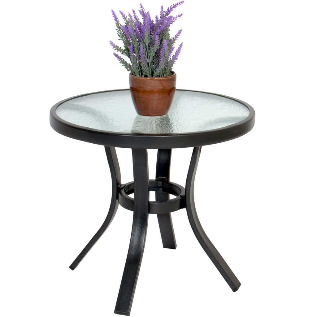 Best Choice Products Patio Outdoor Side Table Steel Tempered Glass Top