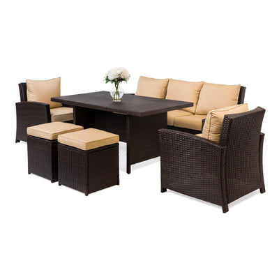 Best Choice Products Complete Outdoor Living Patio Furniture 6-Piece Wicker Dining Sofa Set- Brown