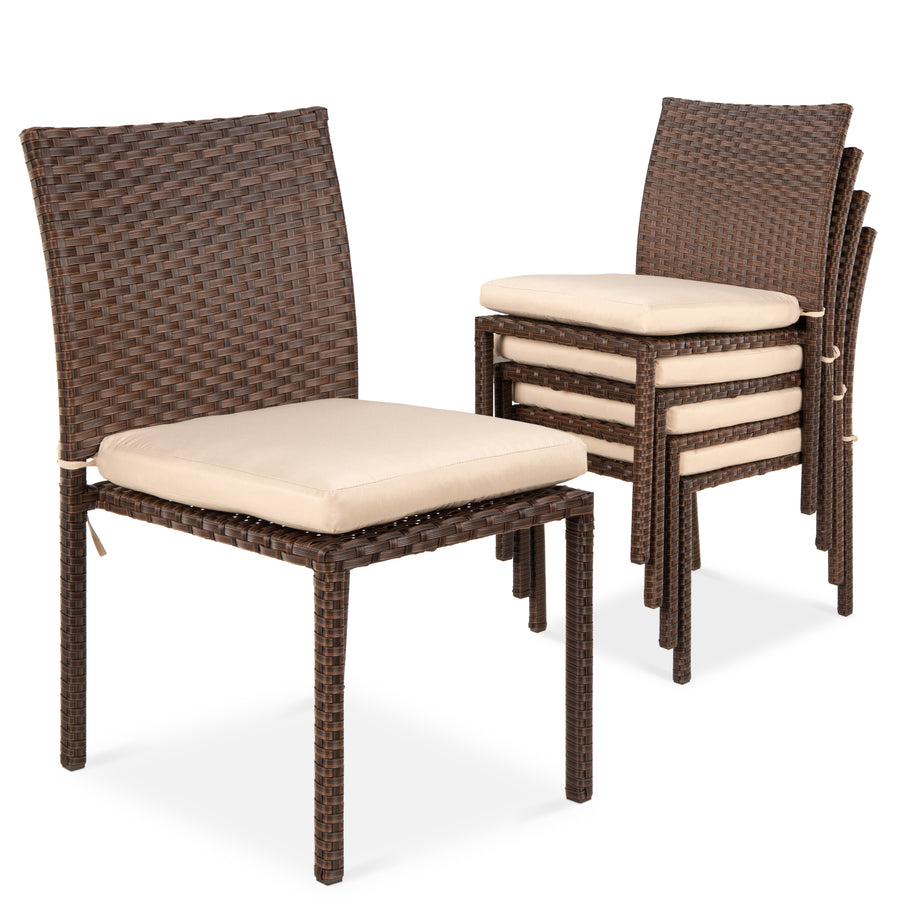 Set of 4 stackable outdoor patio wicker chairs w cushions uv resistance