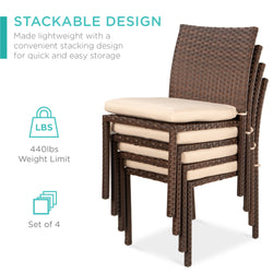 Set Of 4 Wicker Stacking Chairs