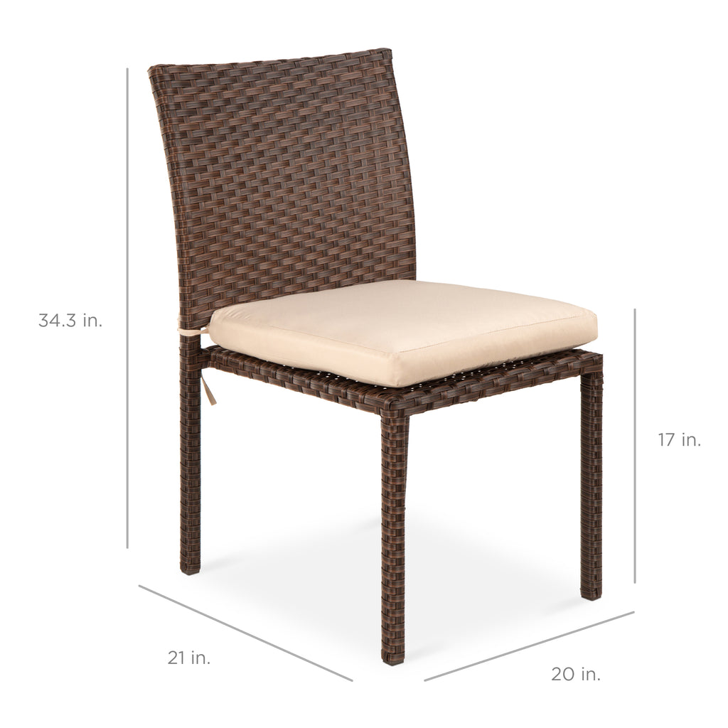 Set of 4 Stackable Outdoor Patio Wicker Chairs w/ Cushions, UV-Resistance
