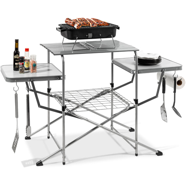 Best Choice Products Outdoor Deluxe Portable Folding Camping Grilling Table W/ Carrying Case