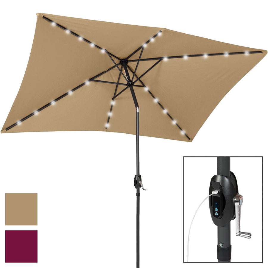 10x6.5ft LED Solar Patio Umbrella w/ USB Charger and Power Bank - Tan