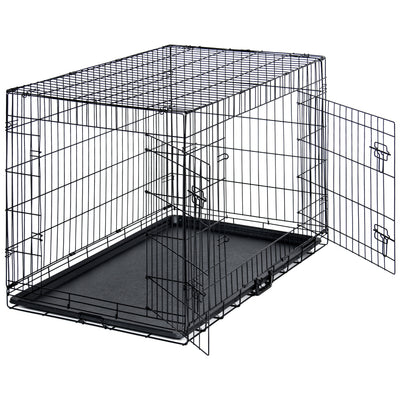 "Best Choice Products Pet Supplies 42"" Dog Cage Crate With Double Doors, Removable Tray- Black"