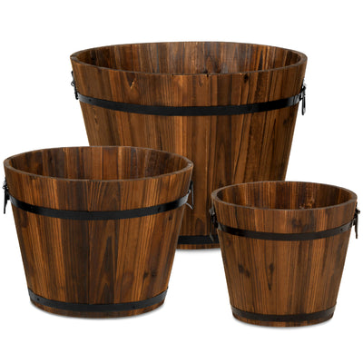 Best Choice Products Indoor/Outdoor Set of 3 Wood Barrel Planter W/ Drainage Holes