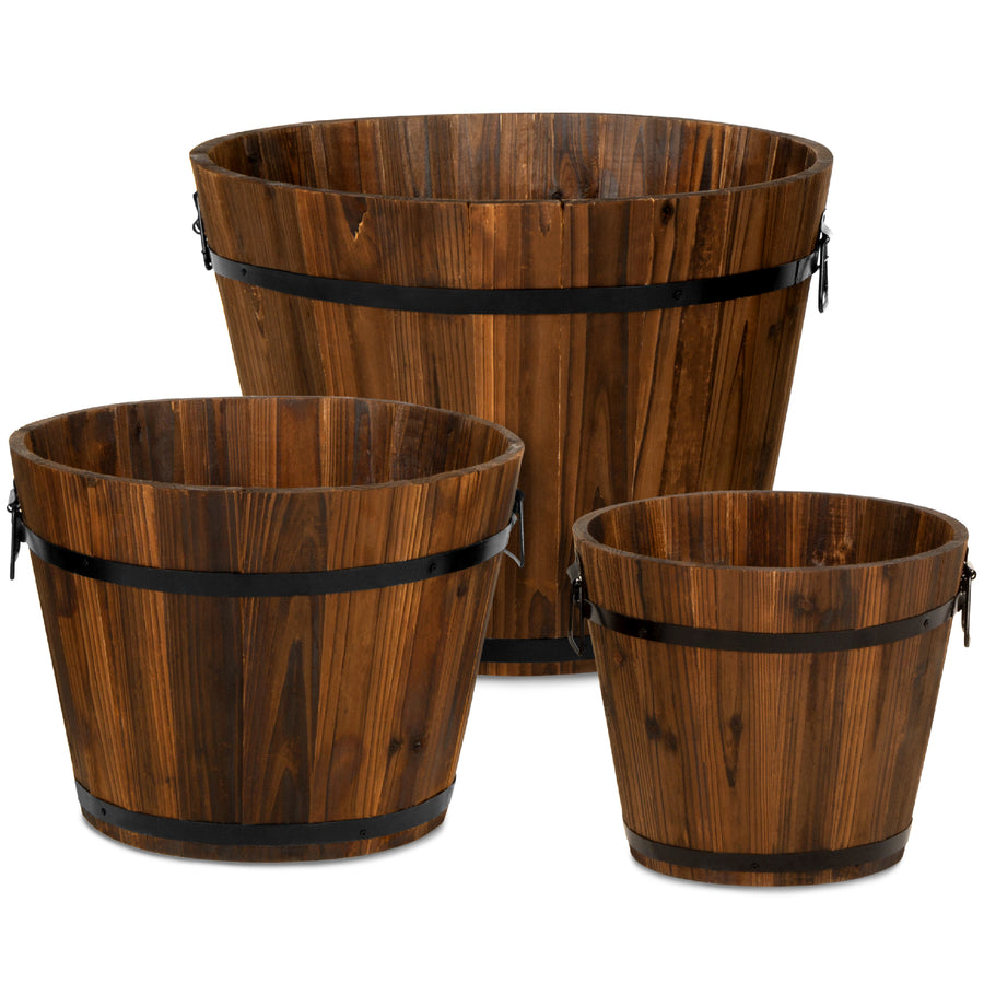 Set Of 3 Wood Barrel Planter W Drainage Holes Best Choice Products