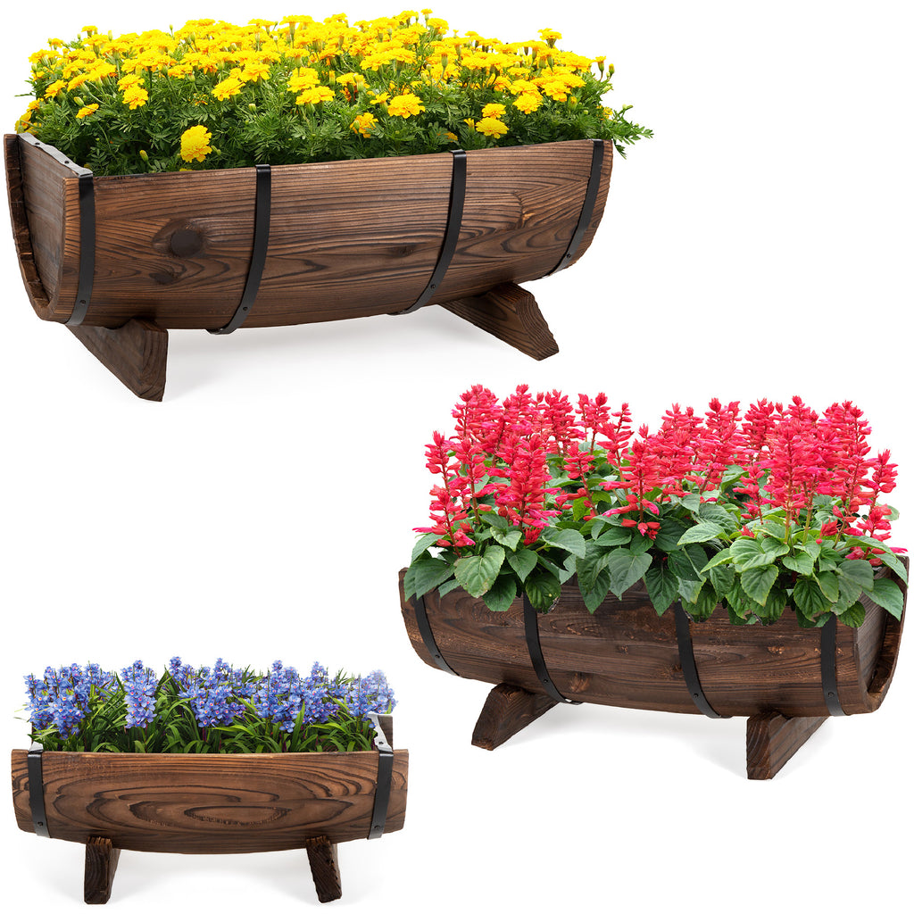 Set of 3 Rustic Wood Half Barrel Garden Planters Set w/ Drainage Holes