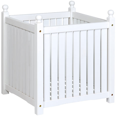 Best Choice Products Square Wooden Planter Box- White