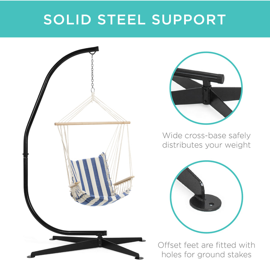 Curved Hanging Hammock C-Stand w/ Steel Frame, Weather-Resistant Finish