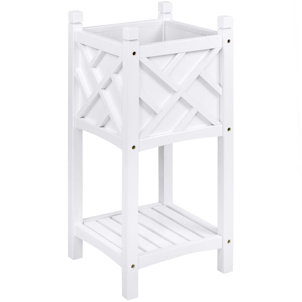 Best Choice Products Square Wooden Stand Planter- White