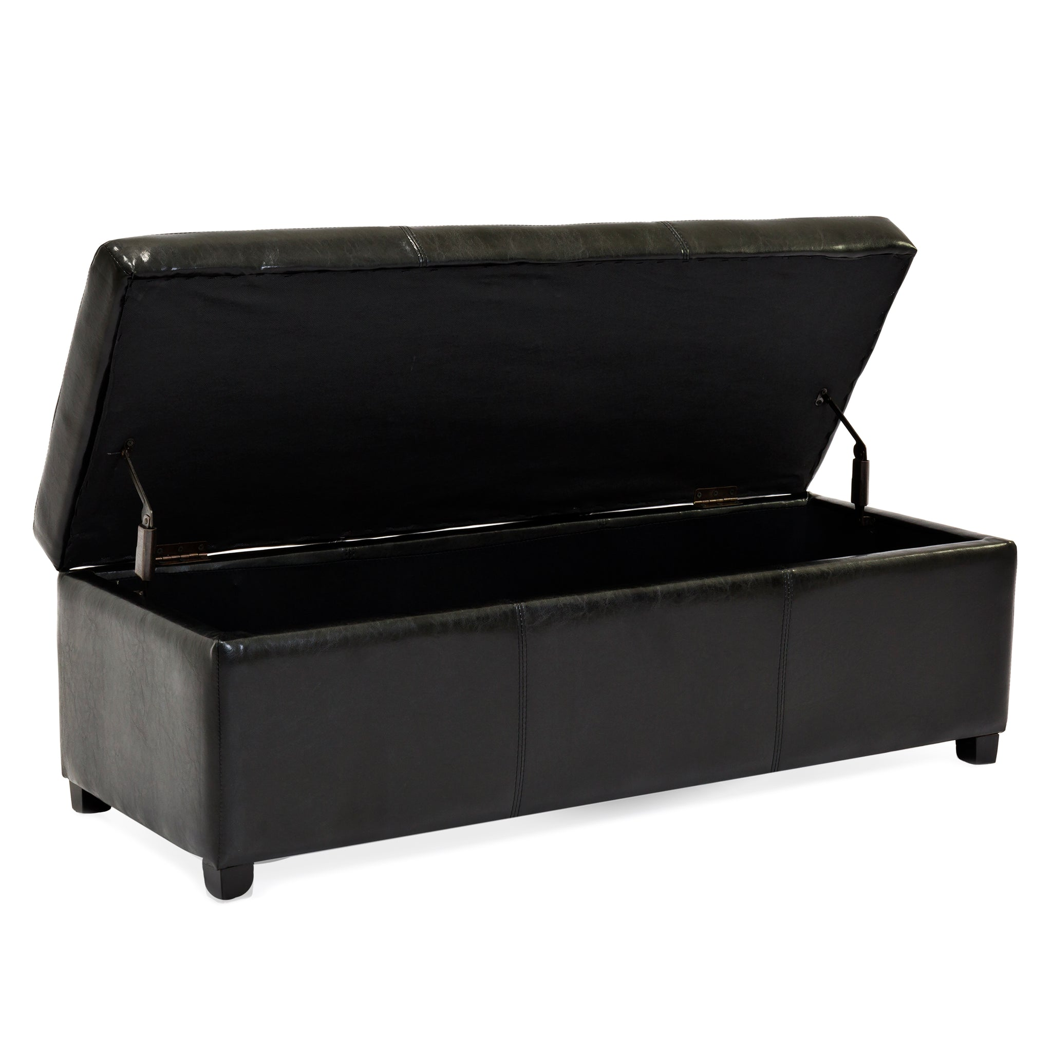 Large Rectangular Leather Storage Ottoman Bench Black Best Choice Products